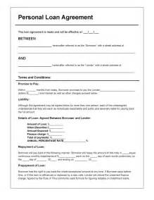 Personal Loan Template personal loan agreement template pdf rtf