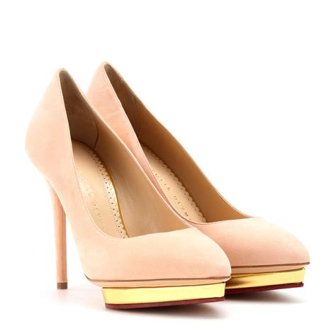 Olympia Platfrom High Heels lyst olympia debbie suede platform pumps in pink