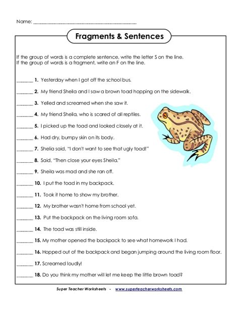 Free Sentence Fragment Worksheets by Sentence Fragment Worksheets Worksheets Releaseboard