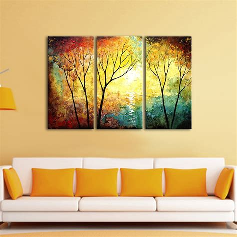 3 canvas wall 3 panel set wall painting yellow tree painting painting for home decor iarts
