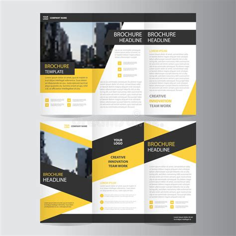 book brochure template yellow black trifold leaflet brochure flyer template