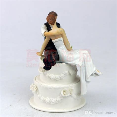 2015 Fashion Wedding Bride & Groom Cake Topper Romantic Wedding Cake Decorations Side Sit