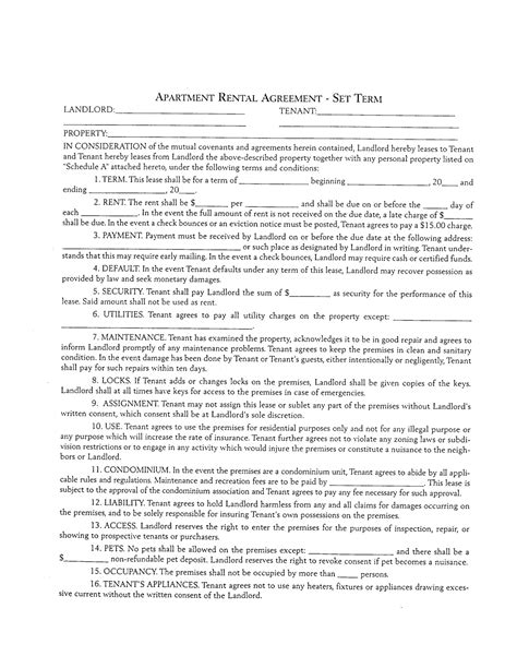 apartment lease agreement template template design