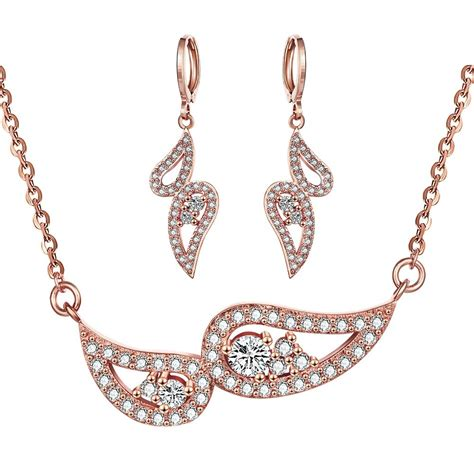 dop design trendy crystal rose gold hollow earrings sets fashion long hollow necklace earrings