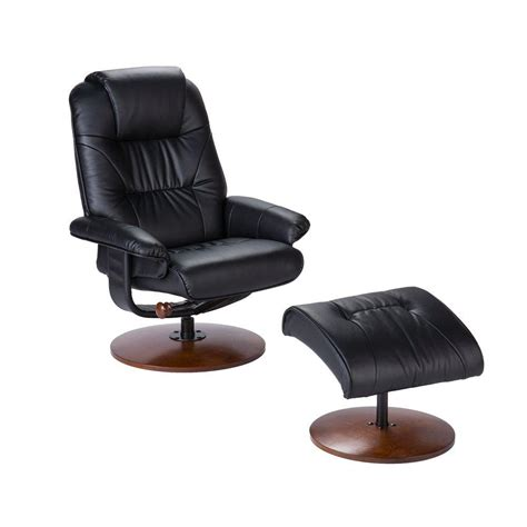 southern enterprises black leather reclining chair  ottoman uprc  home depot