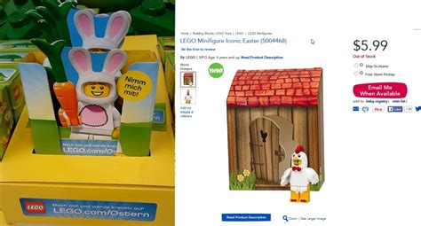 Lego 6142167 Iconic Easter Minifigure Chicken Suit lego bunny suit and chicken suit coming to a store near you soon for easter minifigure