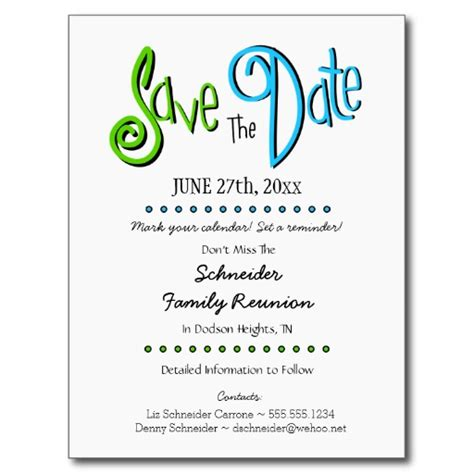 family reunion save the date cards templates family reunion or save the date postcard save