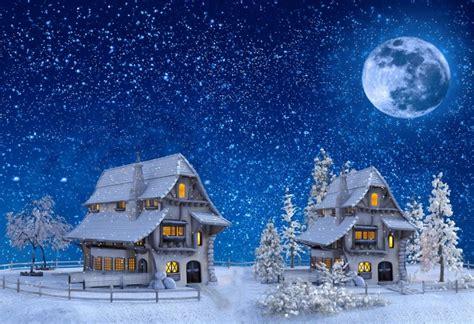 wallpaper christmas snow houses moon stars  model