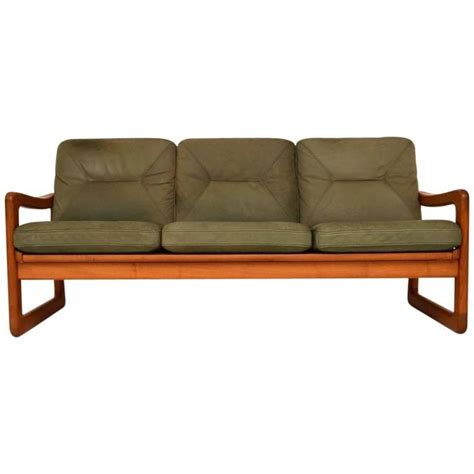 retro danish sofa danish retro teak and leather three seat sofa and stool