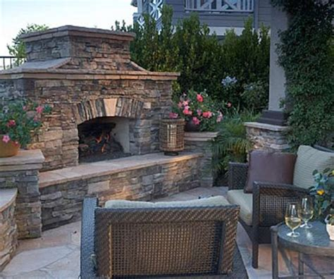 Large Outdoor Fireplace by Outdoor Fireplace Features Landscaping Network
