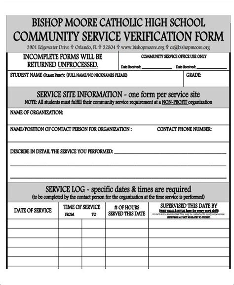 community service form template pdf 39 service forms in pdf
