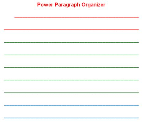 paragraph writing template learn lead grow power paragraph organizer