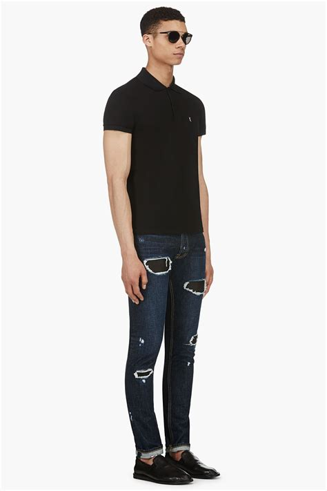 public school indigo distressed leather patch skinny jeans