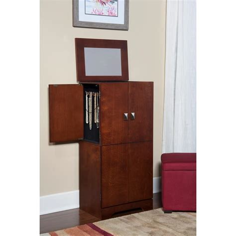 standing jewelry armoire innerspace luxury products espresso deluxe mirrored