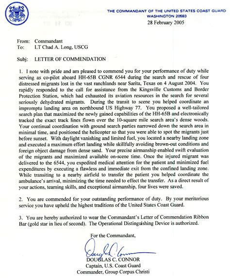 Sea Service Letter Uscg Chad