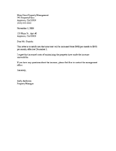 Rent Increase Letter California Sle Rent Increase Template