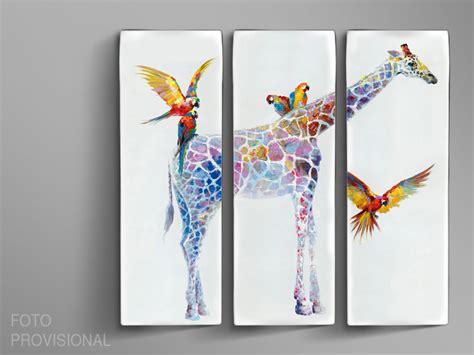 cuadro triptico cuadro tr 237 ptico jirafas schuller 752875 decorapremium