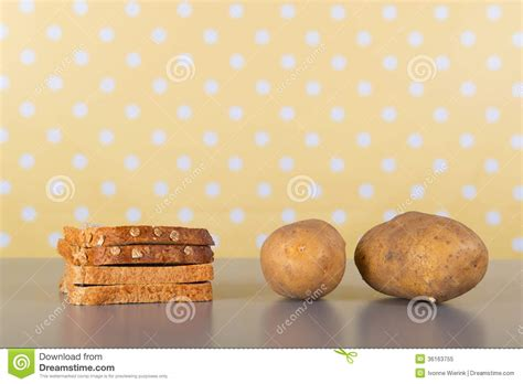 carbohydrates x 4 carbohydrates in bread and potatoes royalty free stock