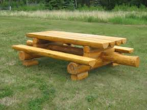 Chair And A Half Round Rustic Wood Picnic Tables Higher Ground Log Furnishings