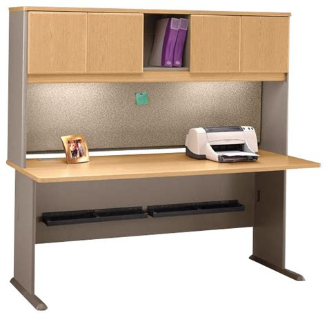 desk hutch lighting bush series a 72 quot wood computer desk with hutch in light