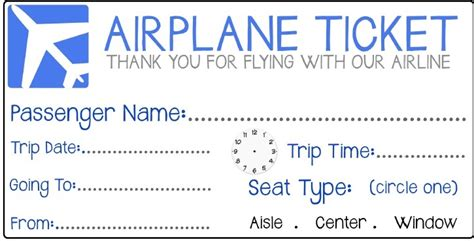 printable pretend tickets to the airport engleza la grădi