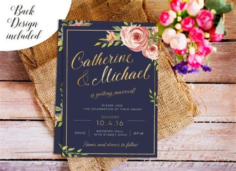 navy and gold wedding invite diy wedding invitation set
