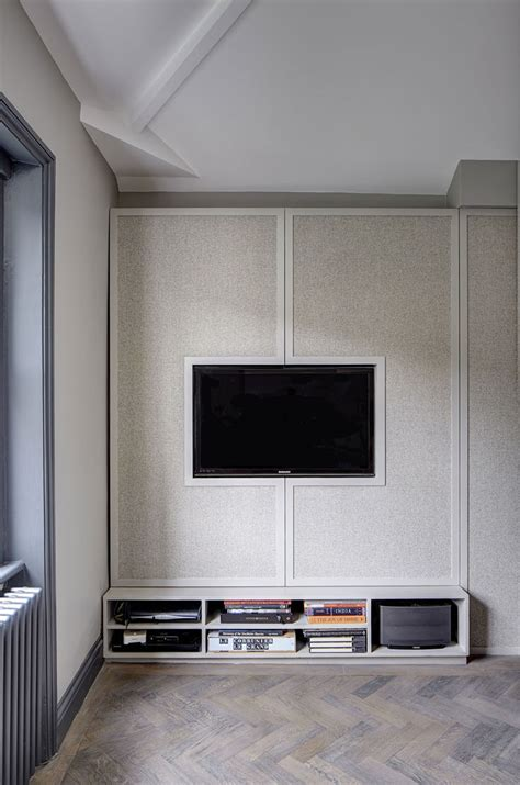 Tv Cabinet With Doors To Hide Tv Tv Wall Design Idea Hide Shelves With Large Custom Made Cabinet Doors Contemporist