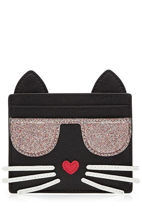 Kaos Cat Lagerfeld karl lagerfeld choupette card holder in black lyst