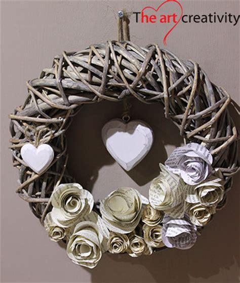ghirlanda di fiori di carta ghirlanda fiori di carta cuore di legno per la casa