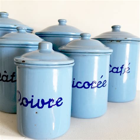 french aluminum kitchen canisters set of 5 chairish kitchen canisters french french vintage enamel canisters