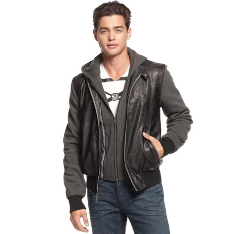 guess jacket hooded faux leather knit bomber in black for jet black lyst