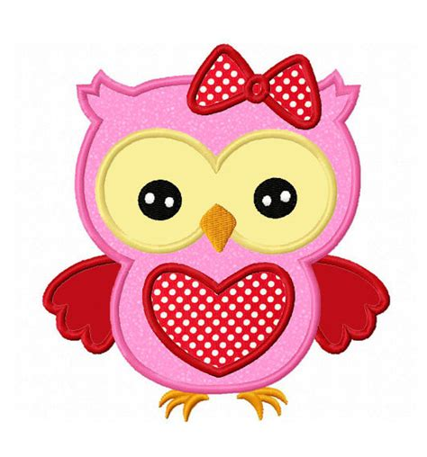 valentines owl day owl applique machine embroidery design no 0122