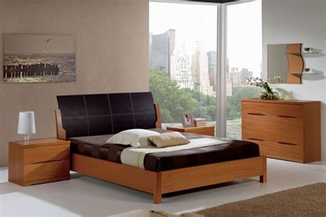 natural wood bedroom furniture natural wood modern bedroom set with black leather headboard