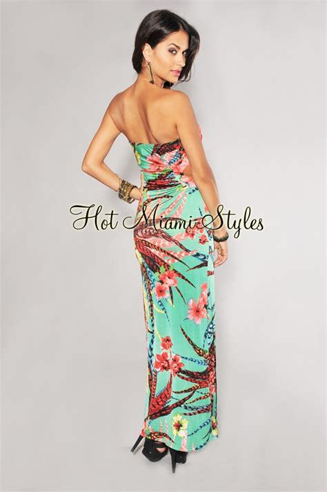 Mini Dress Gaun Bodycon Green Tropical Floral L Import Original green tropical floral print maxi padded dress