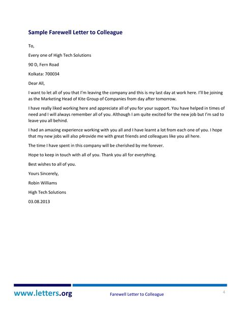 farewell letter to 2 writing a touching farewell letter to colleagues with