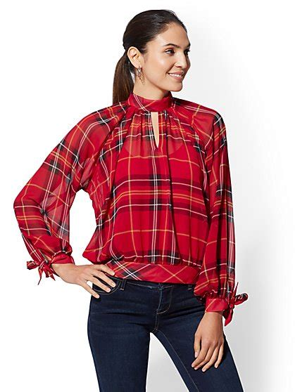 Mock Two Plaid Blouse s clothes shop stylish clothing styles