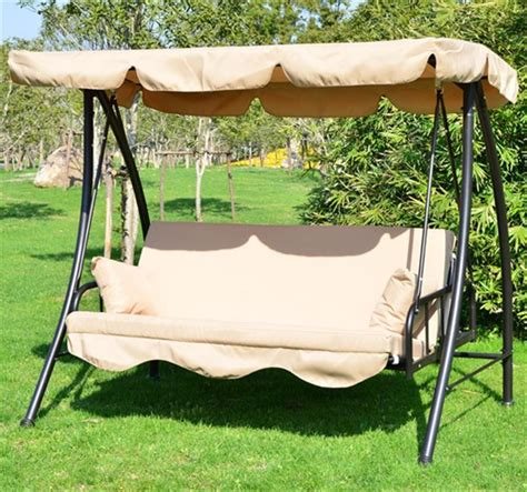 swing bench seat outsunny 3 seater swing chair bench seat beige aosom co uk