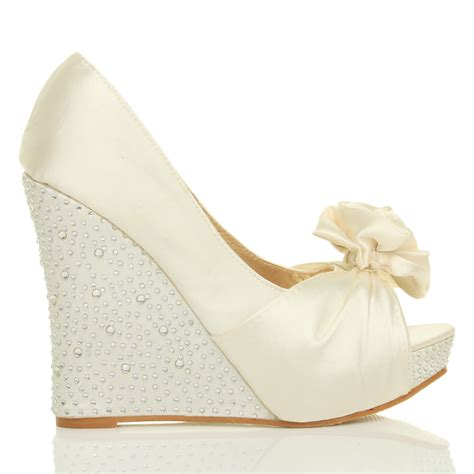 womens wedding platform wedge bridal sandals