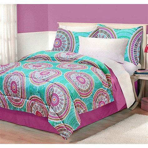 Boho Chic Girls Full Queen Comforter Set Modern Pink Teal Bed Sets For College