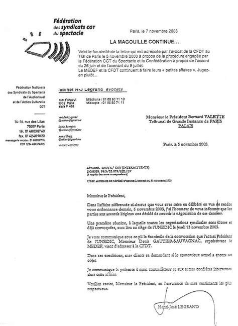Modèle De Lettre à Un Avocat Cip Idf Gt Document Scann 233 Lettre De L Avocat De La Cfdt Au Pr 233 Sident Du Tgi Le 05 Novembre 2003