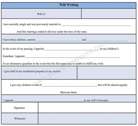 write a will template sle will writing form will writing format