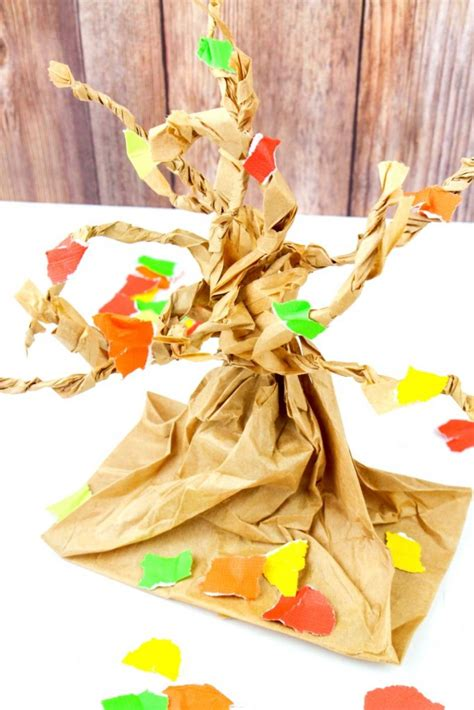 paper bag tree craft fall tree paper bag crafts living