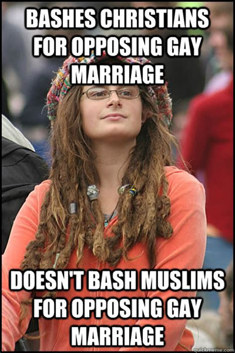 Gay Marriage Meme - bashes christians for opposing gay marriage doesn t bash