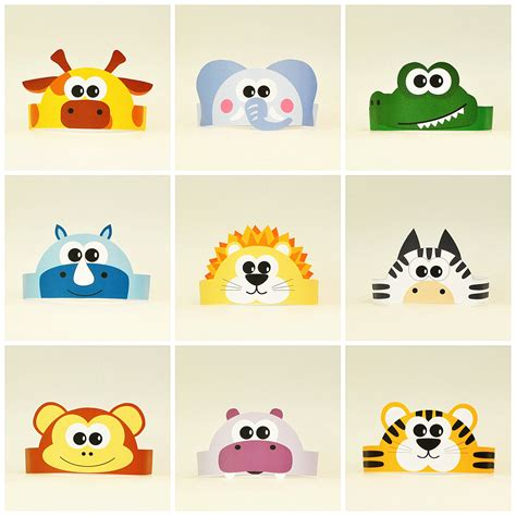 printable animal crowns 10 jungle and savanna animals paper crowns set 10 diy crowns
