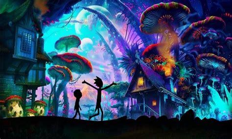 tela hd de impressao cartaz mundo rick  morty shroom definir um conjunto em pintura