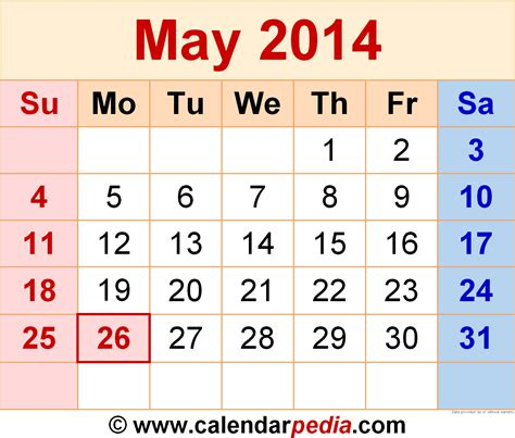 2014 May Calendar May 2014 Calendars For Word Excel Pdf