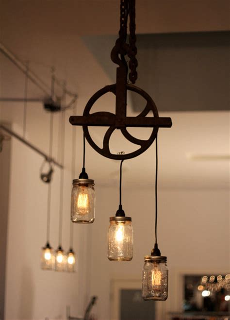 Pulley Pendant Lights Beautiful Well Pulley L With Jars Rustic Pendant Lighting Montreal By Aes