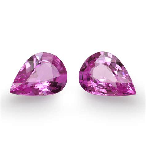 Pear Pink 2 25 carat pink sapphire gemstone pear shape pair