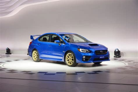 subaru impreza turbo 2015 2015 subaru wrx sti bows in detroit with a big wing and