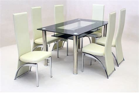 Dining Table Black Glass Black Glass Dining Table And 6 Faux Chairs In Homegenies